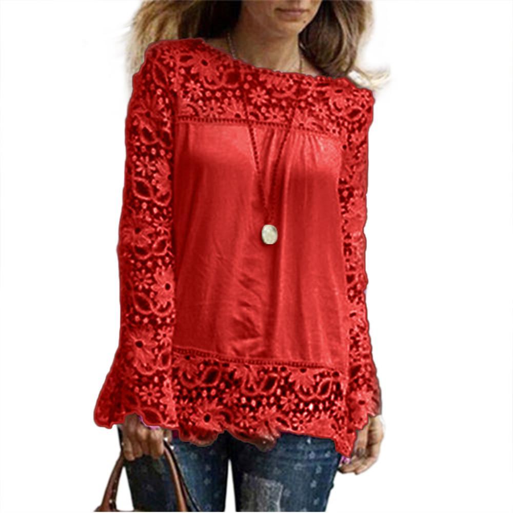 f188a1a4f3d288 Top de colheita blusa Das Mulheres lace up de alta qualidade blusas mujer  o-pescoço tops de verão Manga Longa Blusa Ocasional plus size roupas ...