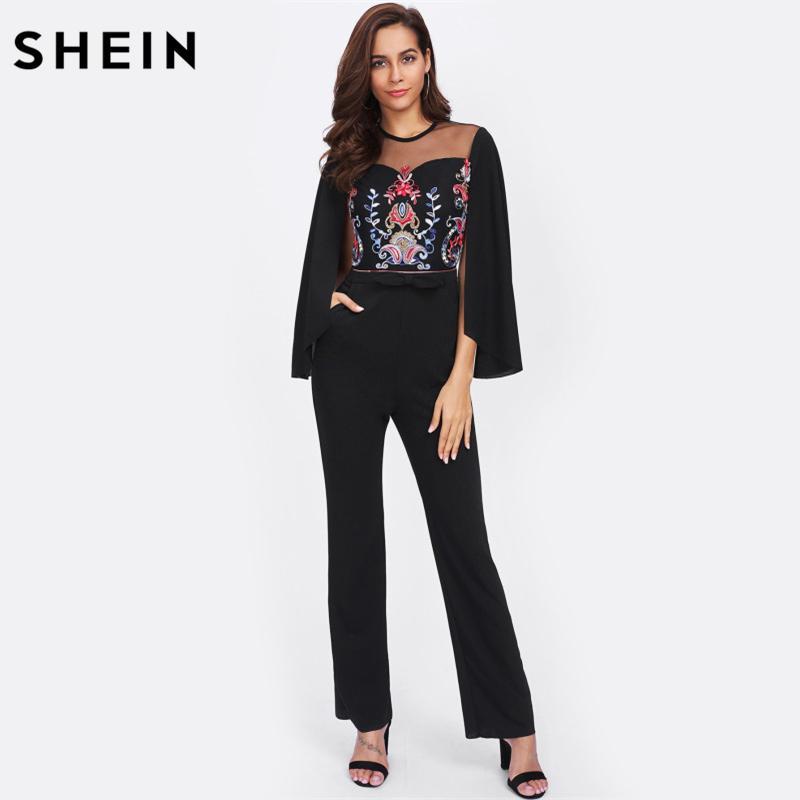 SHEIN Cape Sleeve Contrast Mesh Insert Embroidered Tailored Jumpsuit Black Mid Waist Skinny Long Sleeve Jumpsuit