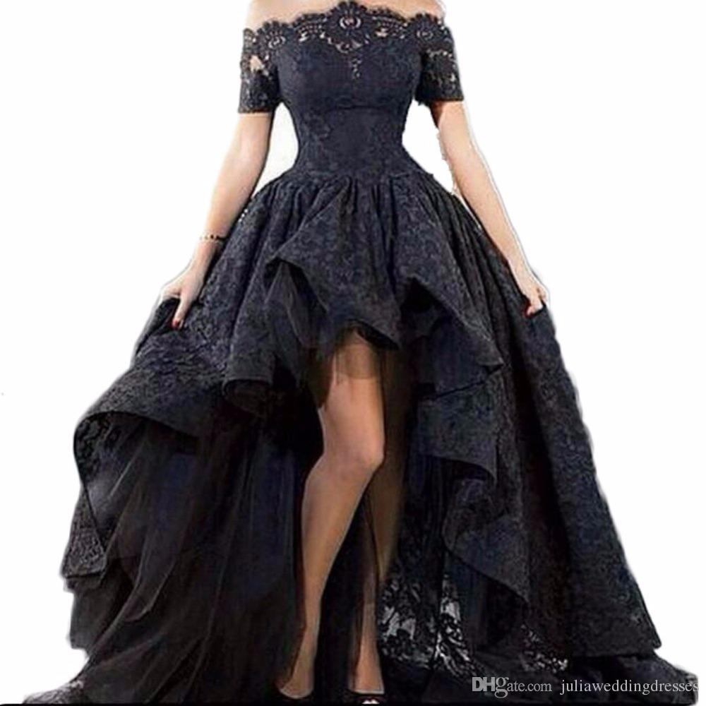 2018 Nuevo elegante encaje negro sin tirantes del hombro mangas cortas vestidos de baile bajo alto vestidos de noche Vestido Longo QC469
