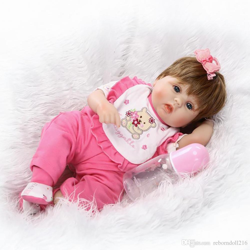 9f28a50b0 40cm Silicone Reborn Baby Doll Toy Lovely 16inch Newborn Princess ...