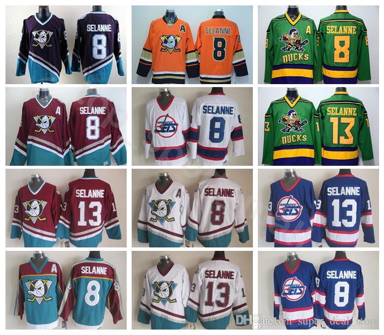 8b6ed4e990d 2019 Anaheim Ducks 8 Teemu Selanne Jersey Men The Mighty Ducks Movie Green  1993 Purple 13 Selanne Hockey Jerseys 2016 Stadium Series From Vip sport