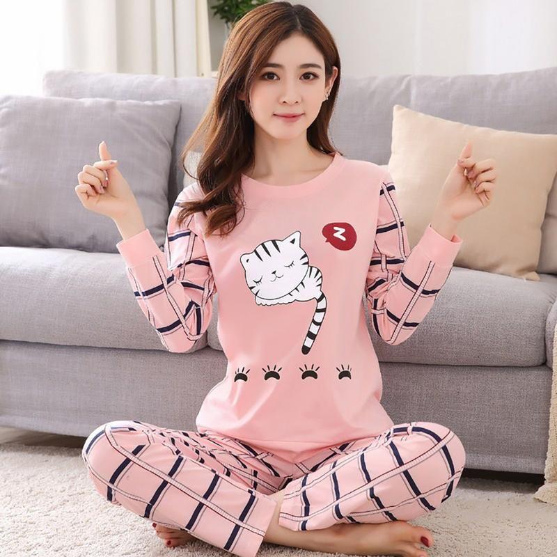 bda0c6609 2019 Spring And Autumn Comfortable Cotton Fabric Cartoon Cute Animal Long  Sleeved Pajamas Set Practical Durable Home Service Set From Yujinnice