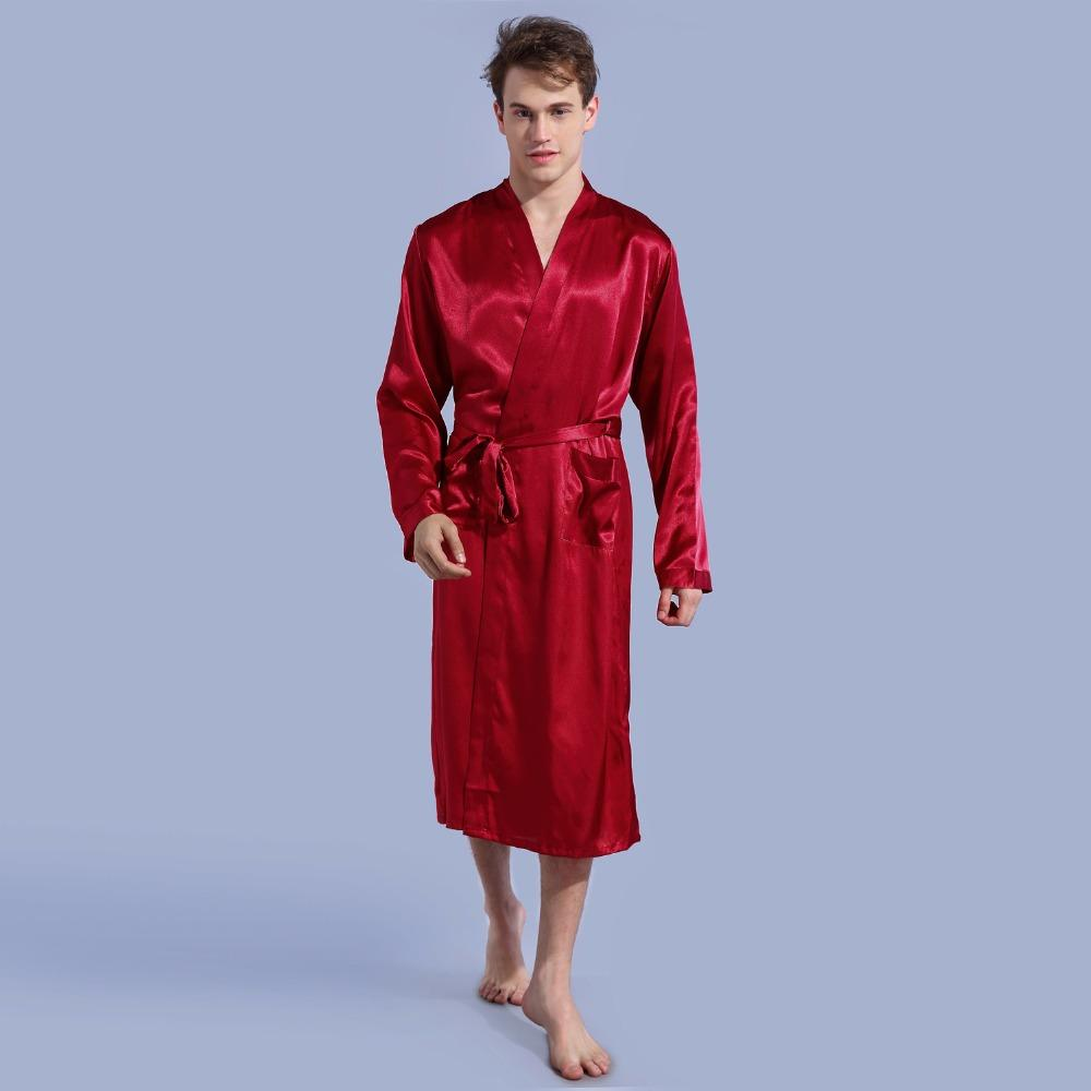 2018 Burgundy Men\'S Kimono Robe Bathrobe Sleepwear Faux Silk Bath ...