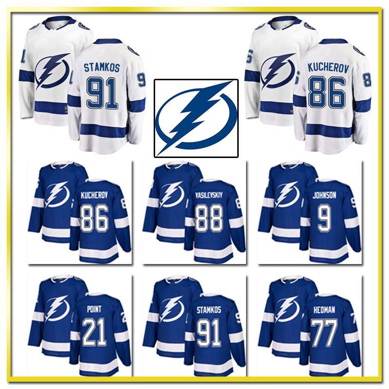 2019 91 Steven Stamkos Tampa Bay Lightning Jersey Men S 86 Nikita Kucherov  88 Andrei Vasilevskiy 77 Victor Hedman Hockey Jerseys 9 Tyler Johnson From  ... 3b5b6ee8e