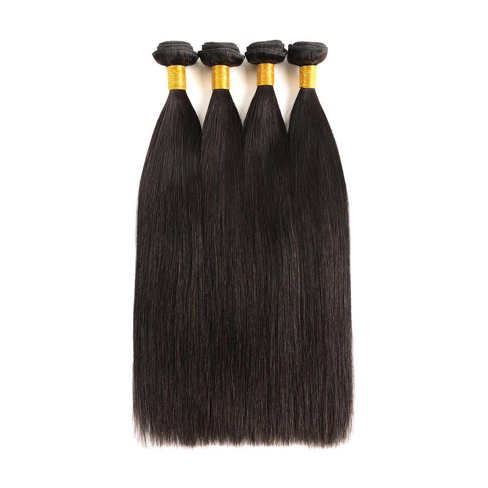 Malaysian Virgin Hair Straight 3 Bundles 100% Unprocessed Human Hair Weave 4 Bundles Natural Black Color