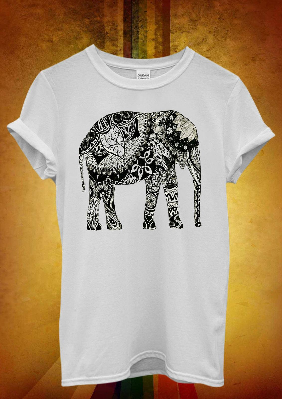 3b8edaf84a3ac Elephant Drawing Ethnic Pattern Art Men Women Unisex T Shirt Tank Top Vest  577 Funny Unisex Casual Tee Gift Top Shirts And T Shirts Buy Cool T Shirts  From ...