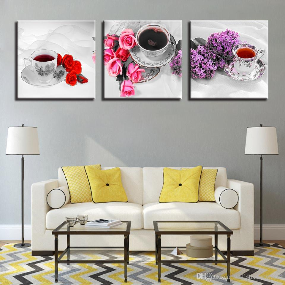 Canvas Painting Home Decor HD Prints Poster Flower And Scented Tea Cup Pictures Kitchen & Restaurant Wall Art Framework