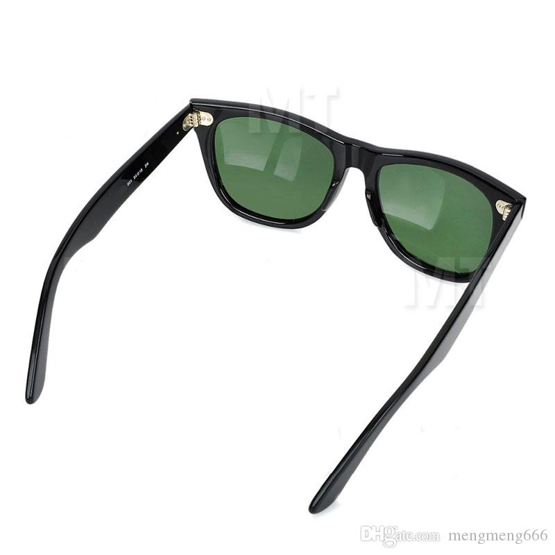 070428c8ecb High Quality Plank Black Sunglasses Glass Lens Black Frame Green ...