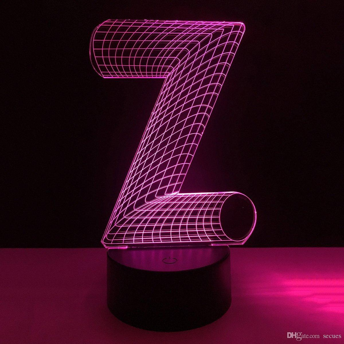 New Z Letter Shape 3D Illusion LED Lamp Letters Decoration Lamp DC 5V USB Powered 5th Battery Wholesale