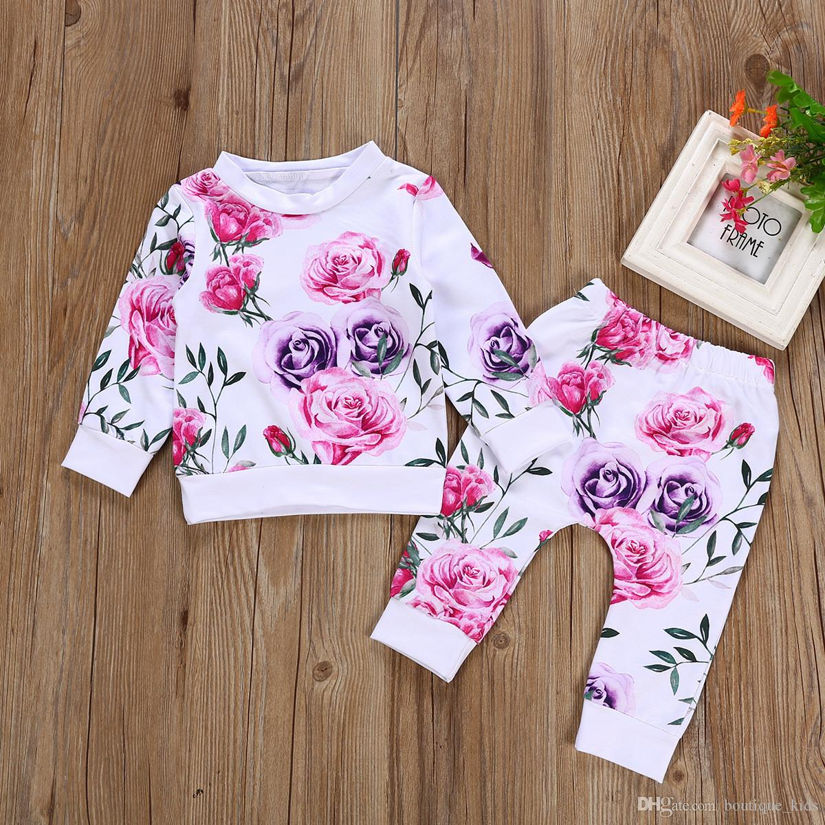4ed74b39170 2019 Kids Clothes Cute Newborn Baby Girl Clothes Set Floral T Shirt Tops  +Pants Girls Outfits Infant Toddler Girls Clothing Sets Boutique From  Boutique kids ...