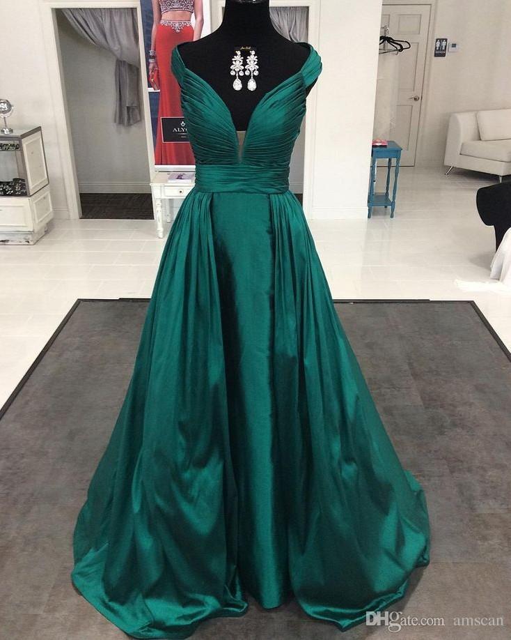 2d99b48dca Compre Emerald Green Elegante Hombro Largo Vestidos De Noche Profundo Con  Cuello En V Plisado Raso Formal Prom Vestidos De Fiesta Vestidos Para  Ocasiones ...