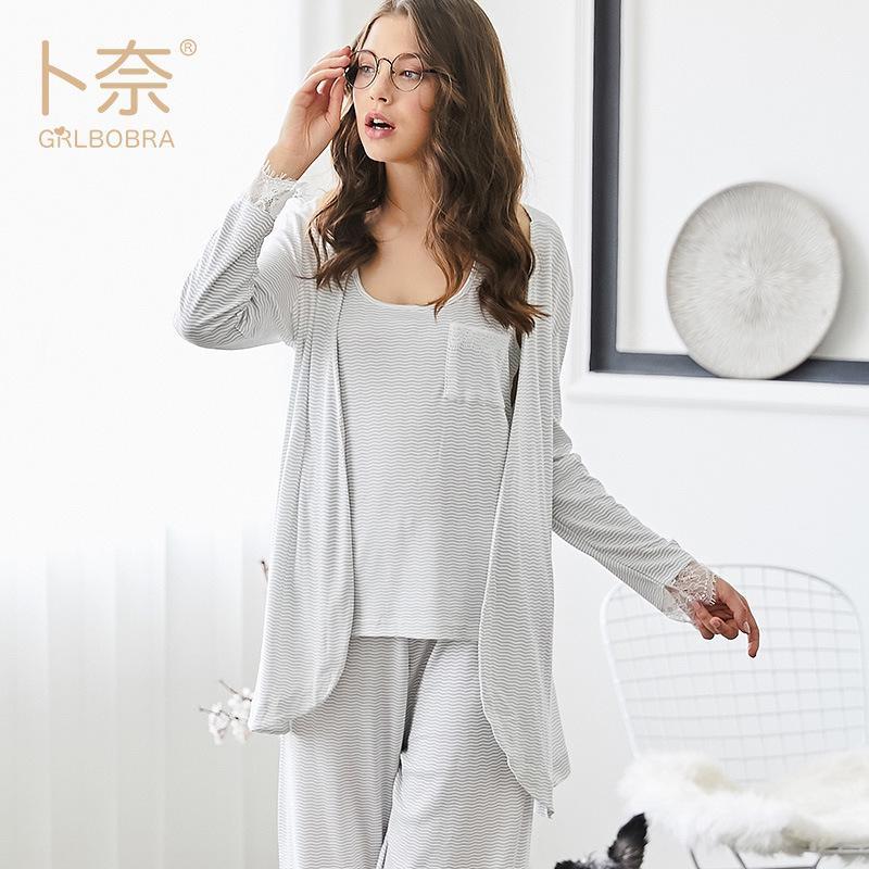 390982194c453 Acheter Trois 3 Pièces Satin Vêtements De Nuit Femme Sexy En Soie Pyjama  Set Évider Manteau Sangle Gilet Toute La Longueur Pantalon Robe Robe  Ensemble De ...