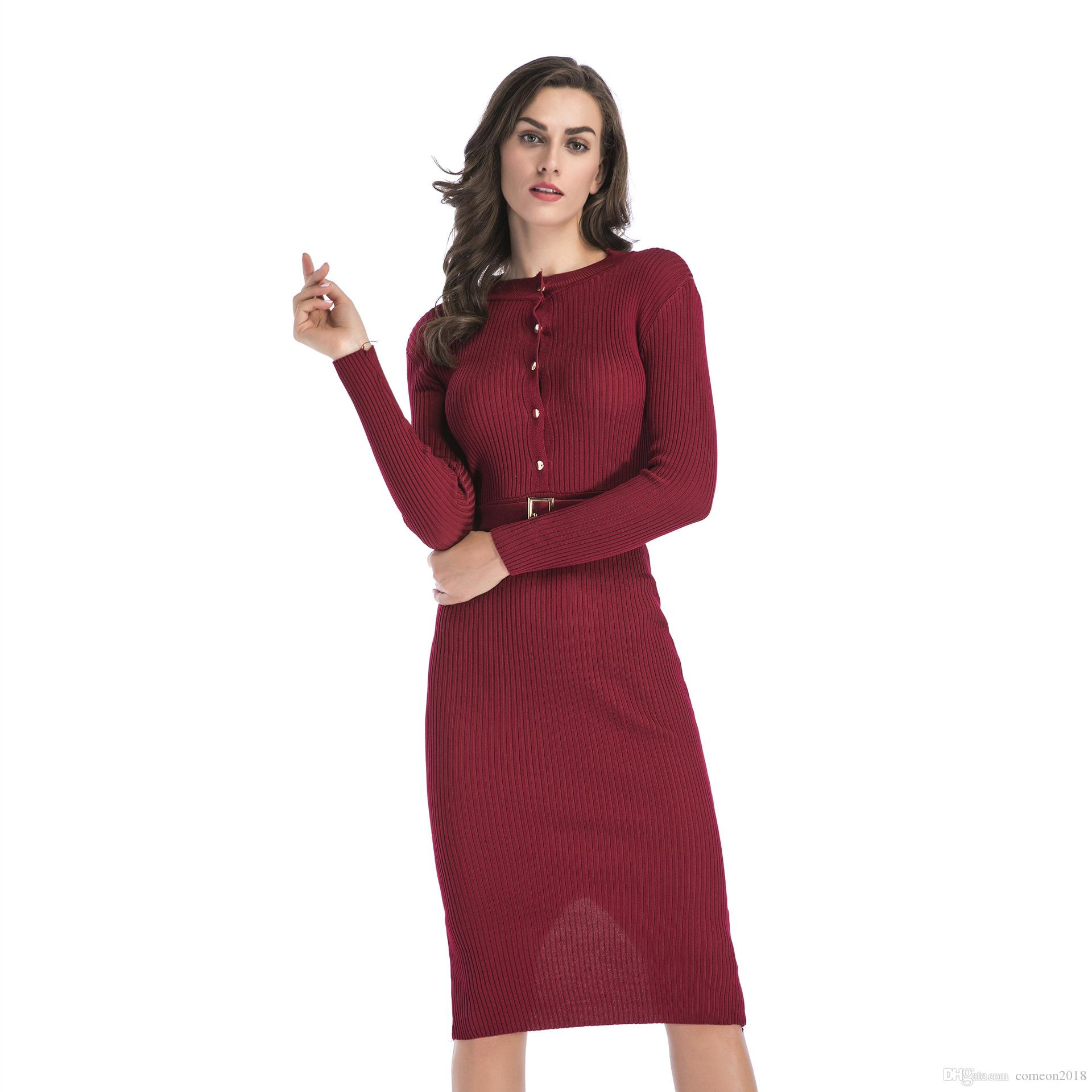 New Women Clothes Women Knitted Bodycon Dresses Slim Crew Neck Long Sleeve Sexy  Ladies Robe Button Dress Autumn Winter Sweater Vestido Best Dresses Long ... d553c9579