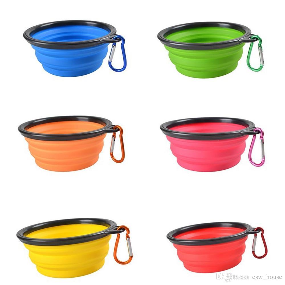 크리 에이 티브 휴대용 개밥 개가 고양이 애완 동물 여행 그릇 실리콘 접이식 수유 식기 공급기 애완 동물을위한 휴대용 물 그릇