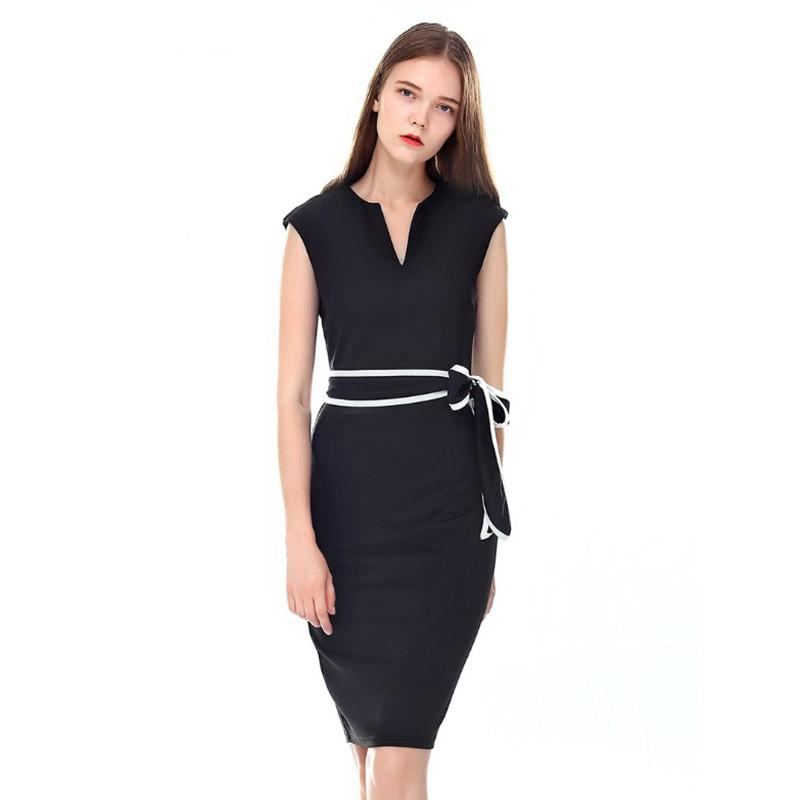 bb70e882532 2019 Formal Office Dress Women Elegant Sleeveless Pencil Dress Slim Fit  Little Black Dresses Plus Size Clothing From Sinofashion
