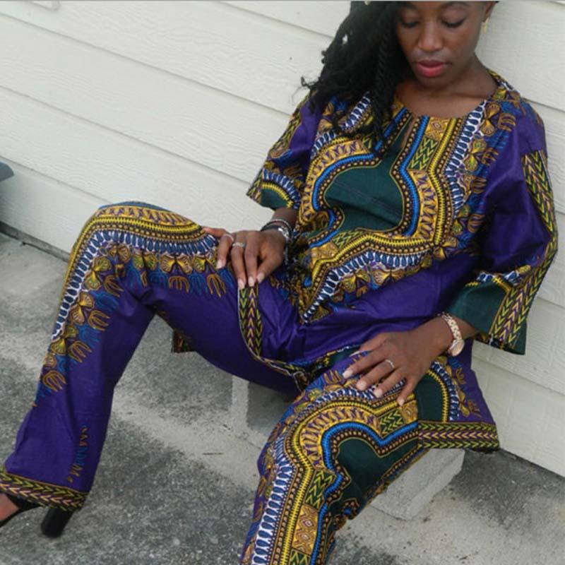 d7df94a32 Summer African Clothing Women Two Pieces Set Traditional Print Outfit Half  Sleeve Loose Casual Dashiki Dress Long Pants Suit