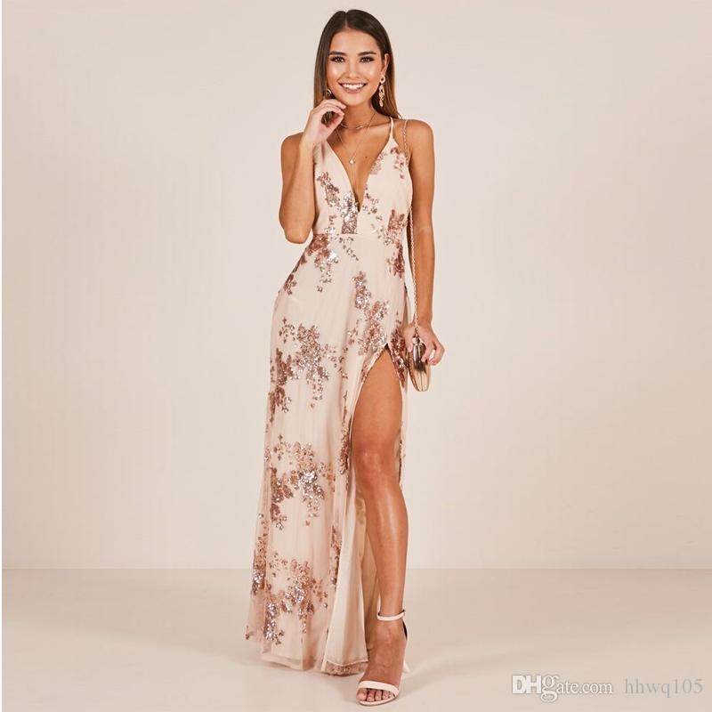 be8a2b67ee32 2019 Summer Maxi Slip Dresses Deep V Neck Side Slit Long Evening Party Prom Dress  Backless Sequined Floral Special Occasion Dresses LJH0435 From Hhwq105, ...