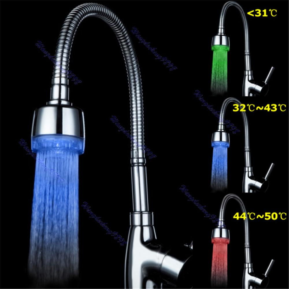 2018 Temperature Sensor Change Rgb Led Light Water Tap Faucet Glow ...