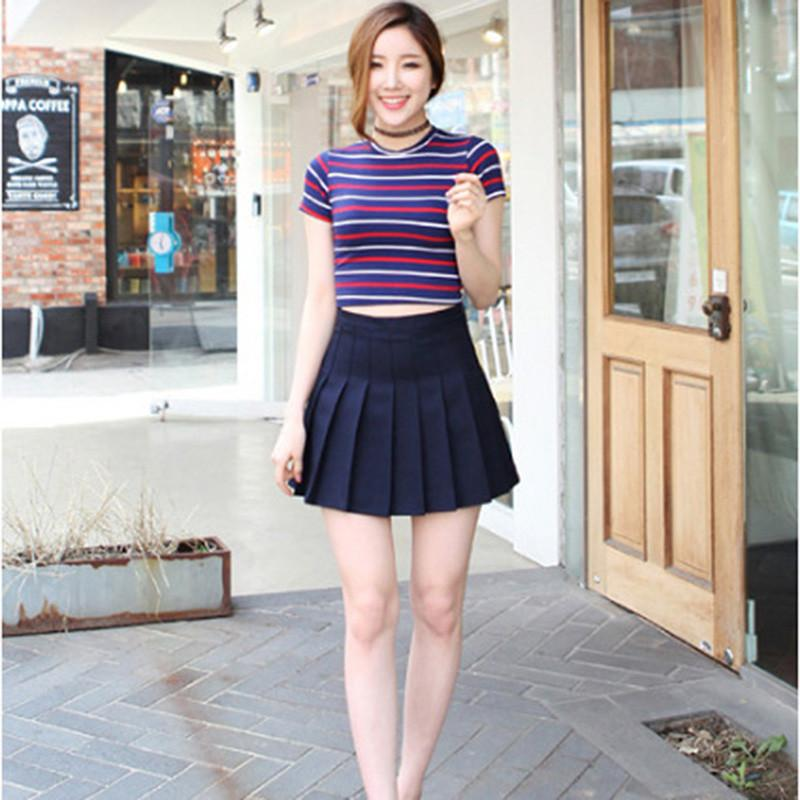 a934ff3eae3a2 Women Skirt Girl Short High Waist Plaid Plain Skater Fashion Skirt ...