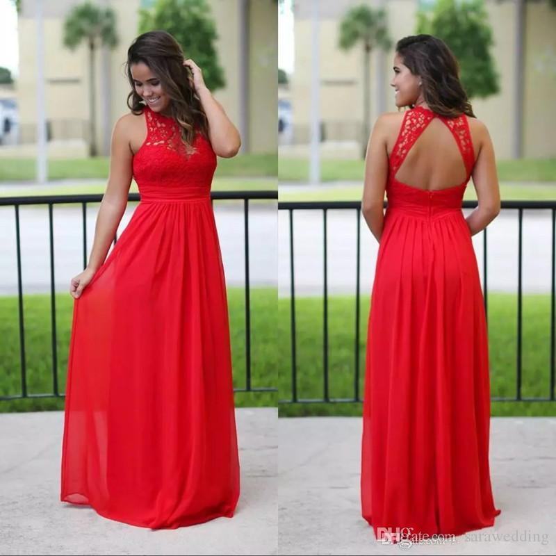 Long Chiffon Country Bridesmaid Dress 2019 Lace Appliques Bridesmaids Dress Beach  Sexy Backless Maxi Dresses Red Pretty Bridesmaid Dresses Printed ... d3c50a3cd9