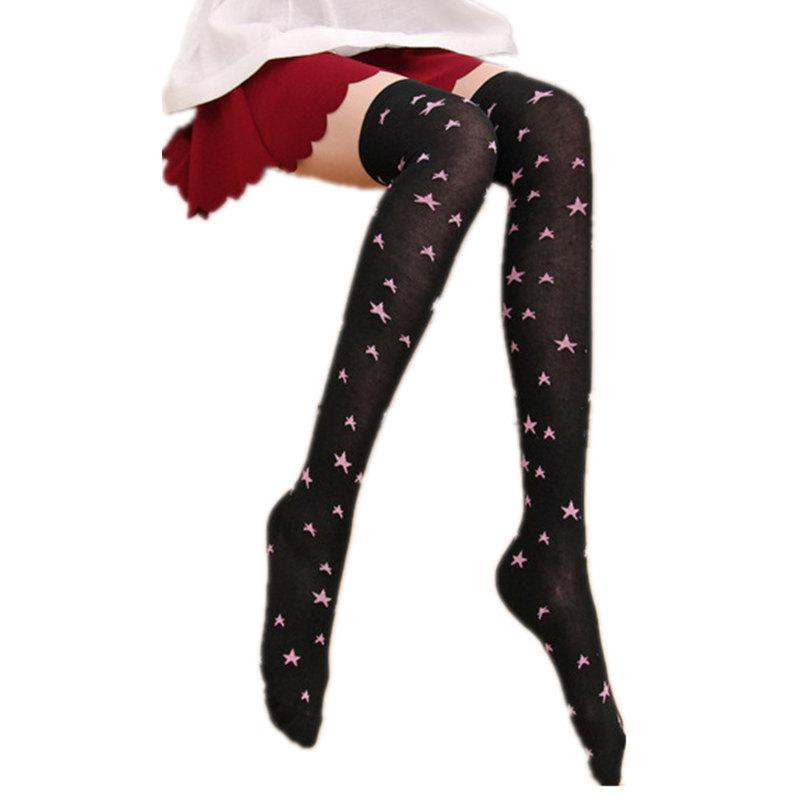 a8b3131402f Cute Dot and Star Women s Stockings Sexy Knee High Socks 2018 Japanese  Kawaii Over The Knee Socks Cotton Thigh High Stockings
