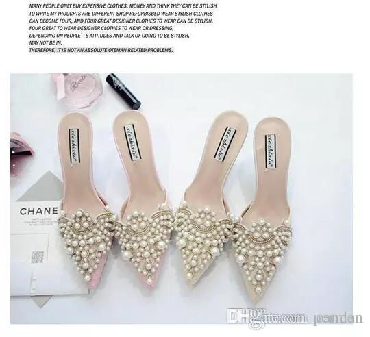 cd0aad5f1e5848 Pearl Rhinestones High Heels Shoes For Ladies Pointed Toes Shoes Pink And Beige  Sandal Shoes Size 35 39 Shoes Uk Flat Sandals From Permen