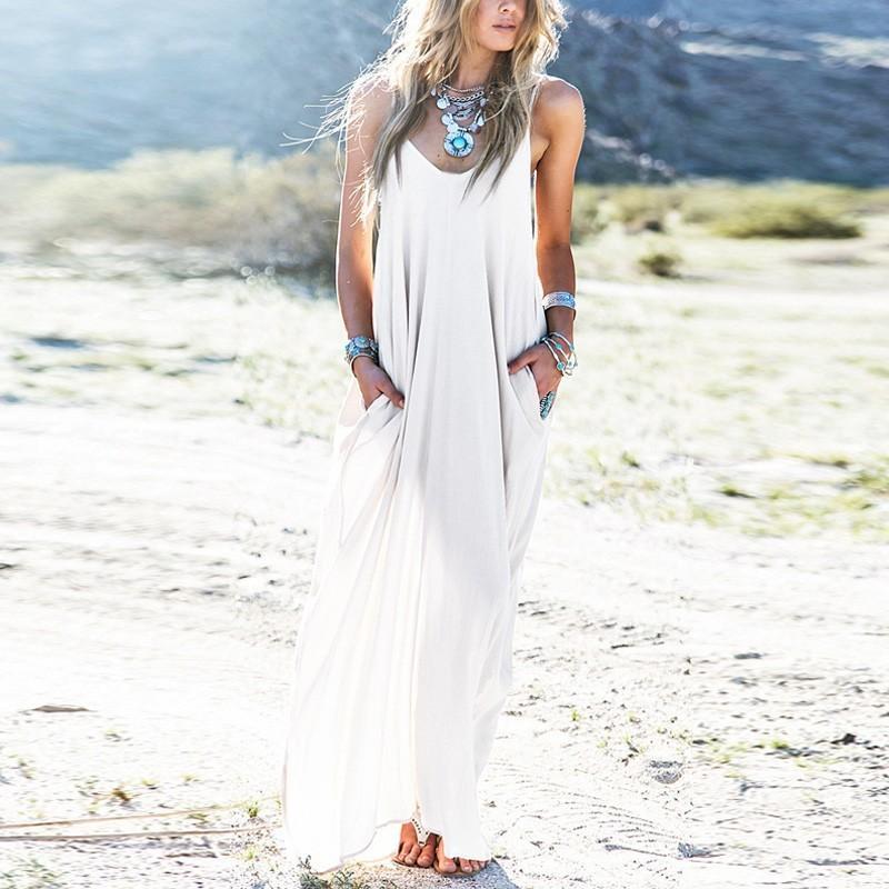 6cafdb94384 Sundress Beach Vestidos 2018 Summer Women Dress Boho Strapless Sexy V Neck  Sleeveless Baggy Long Maxi Dresses Plus Size D1891304 Sundress On Sale  Dresses ...