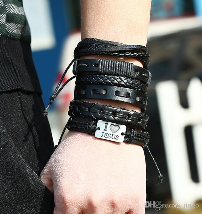mens punk pelle vintage treccia braccialetto di fascino della corda braccialetto combinazione amo Gesù fai da te impostato favore di partito NT