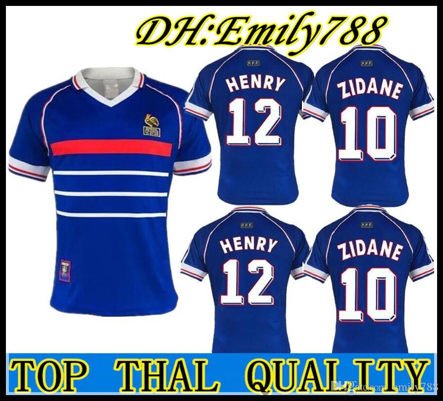 2dfc57907 2019 1998 Zidane Retro Soccer Jerseys French Djorkaeff Henry Frances  Deschamps 98 Classic Shirts Vintage Football Shirts Maillot De Foot  Camiseta From ...