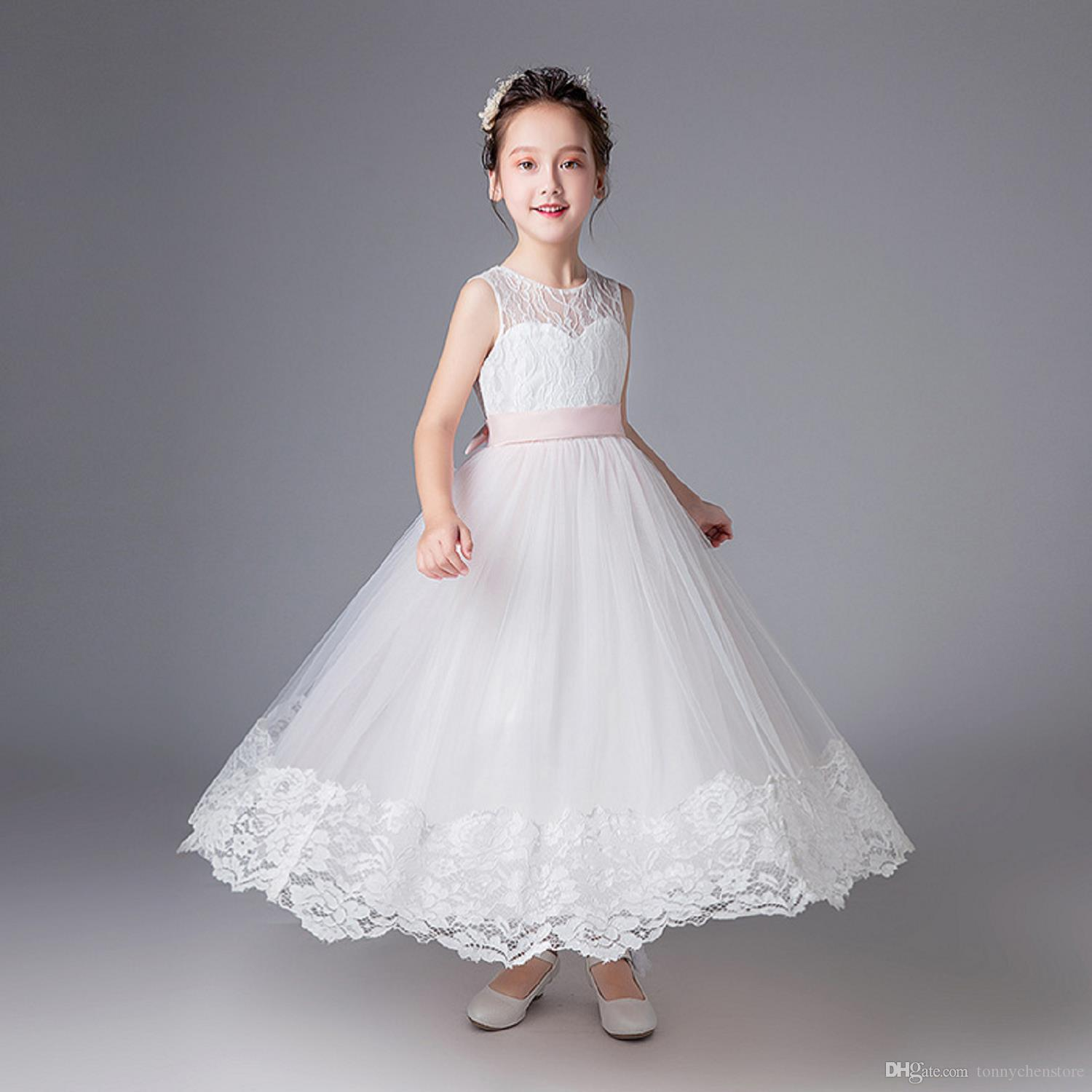 54c399d4bb13 2018 New Summer White And Pink Embroidery Lace Flower Girl Dresses  Sleeveless Ball Kids Dress Communion Dance Dresses Girls Pink Flower Girl  Dresses Red ...