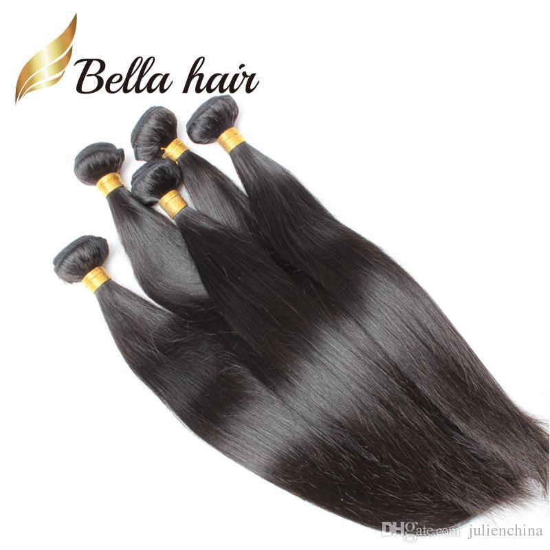 BELLA HAAR® Populäre Brasilianische Haarverlängerungen Doppelschuss Natürliche Farbe 9A Gerade Haarbündel / Gemischte Länge 10 ~ 24 Zoll Gewebe