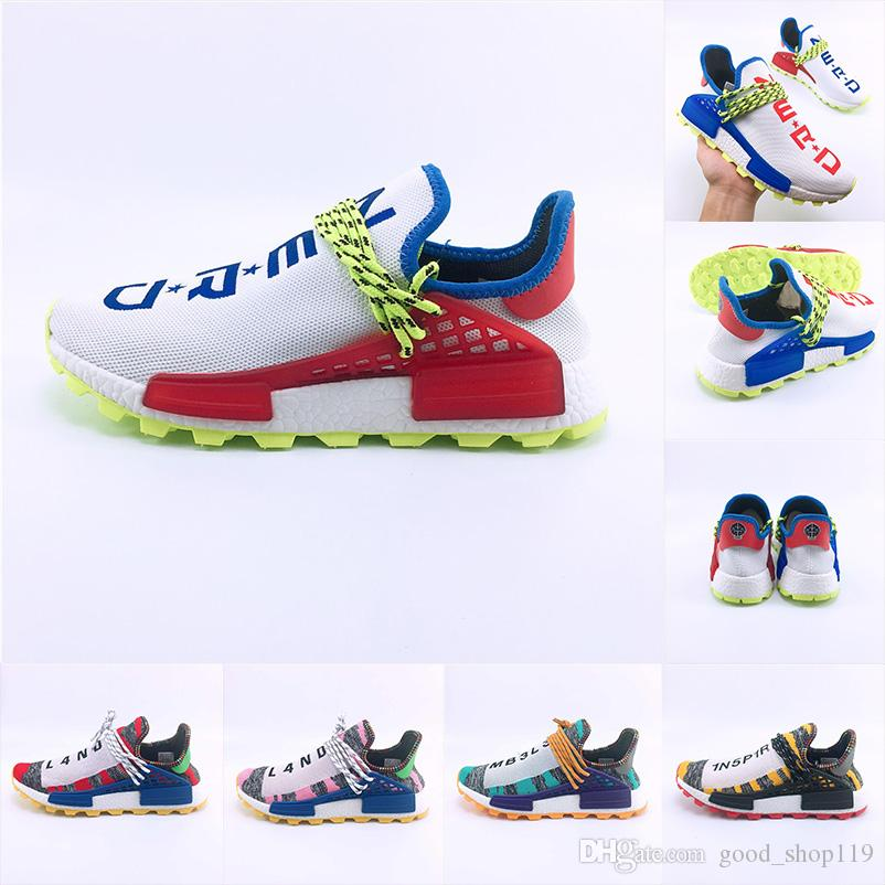 c0655eacea5a7 2018 New Color Human Race Hu Trail Pharrell Williams X Solar Pack Afro Holi  Blank Canvas Mens Trainers Designer Shoes Size 36 47 Shop Shoes Men Shoes  On ...
