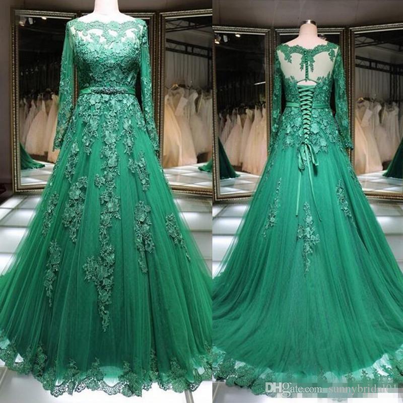 Vestidos de noche musulmanes árabes Bateau Cuello Apliques de encaje Verde Manga larga Ocasión formal Vestido de fiesta Vestido de fiesta de las mujeres con cordones