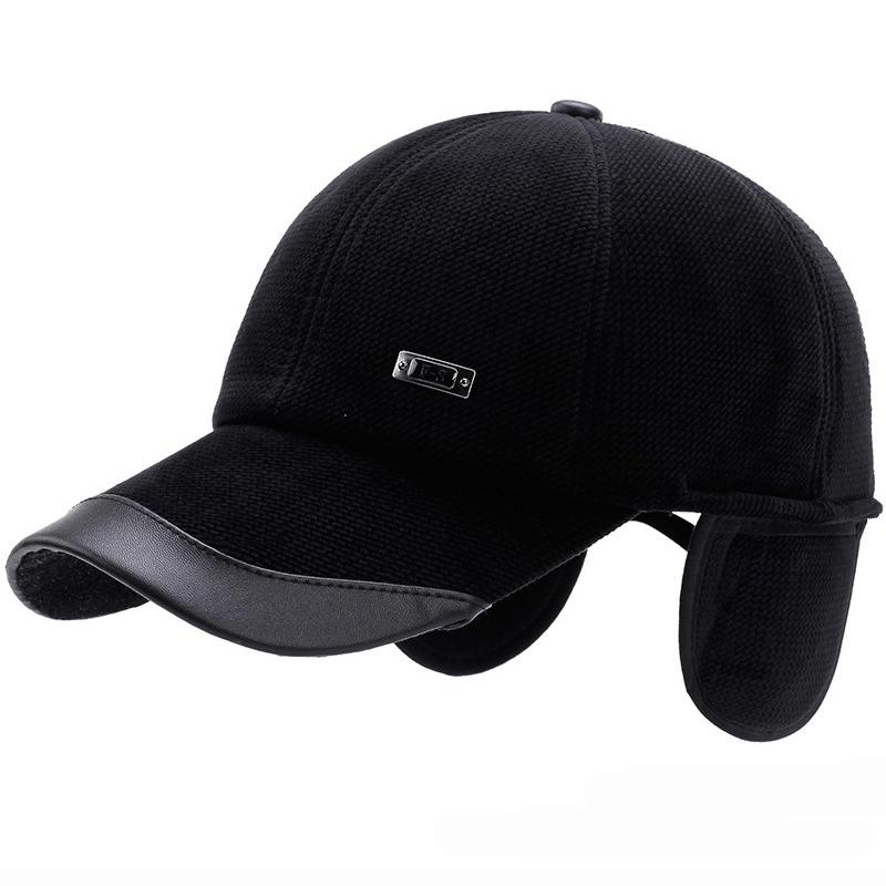 0185a42e4b8 HT1853 New Warm Autumn Winter Baseball Cap Men Leather Brim Snapback Cap  Baseball Hats With Ear Flap Adjustable Dad Hats For Men Baseball Hat Hat  Store From ...
