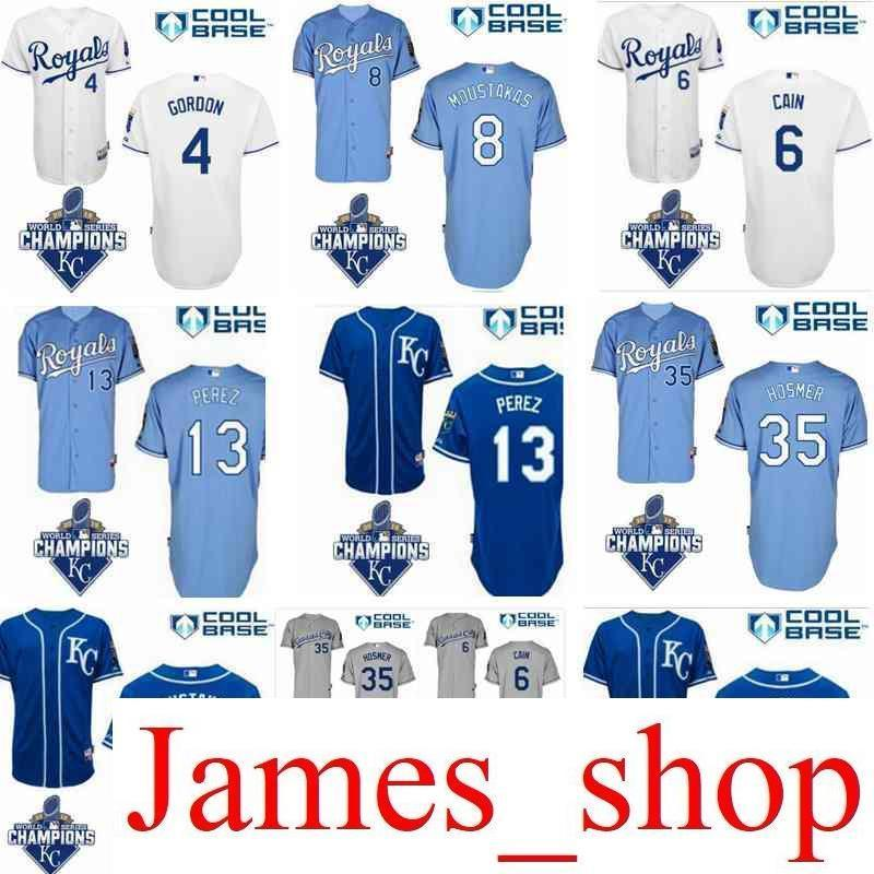 the latest a72e9 85f40 2019 Men s Royals Jersey 35 Eric Hosmer 6 Lorenzo Cain Jersey 13 Salvador  Perez 100% stitched baseball jerseys size S-XXXL