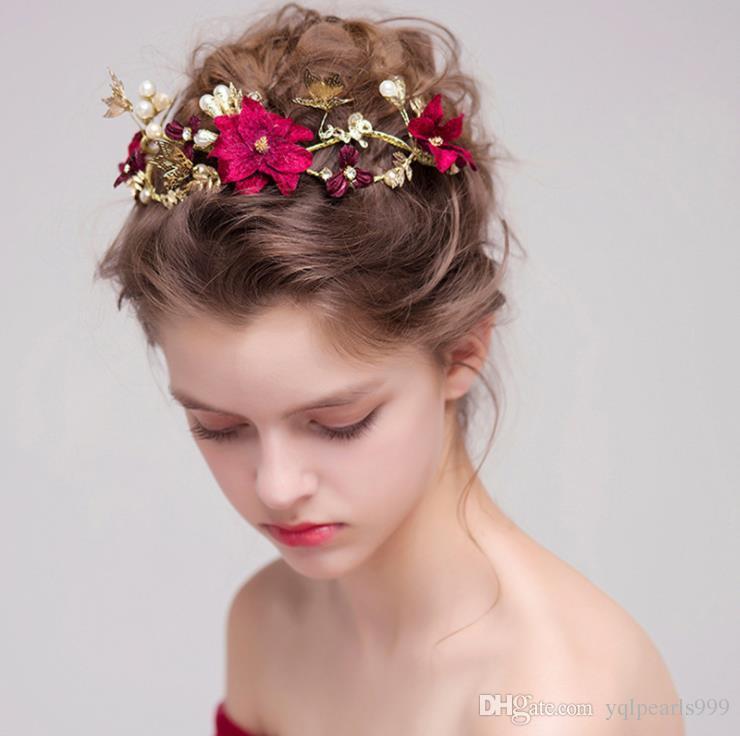 Kırmızı çiçek gelin düğün headdress saç süsler