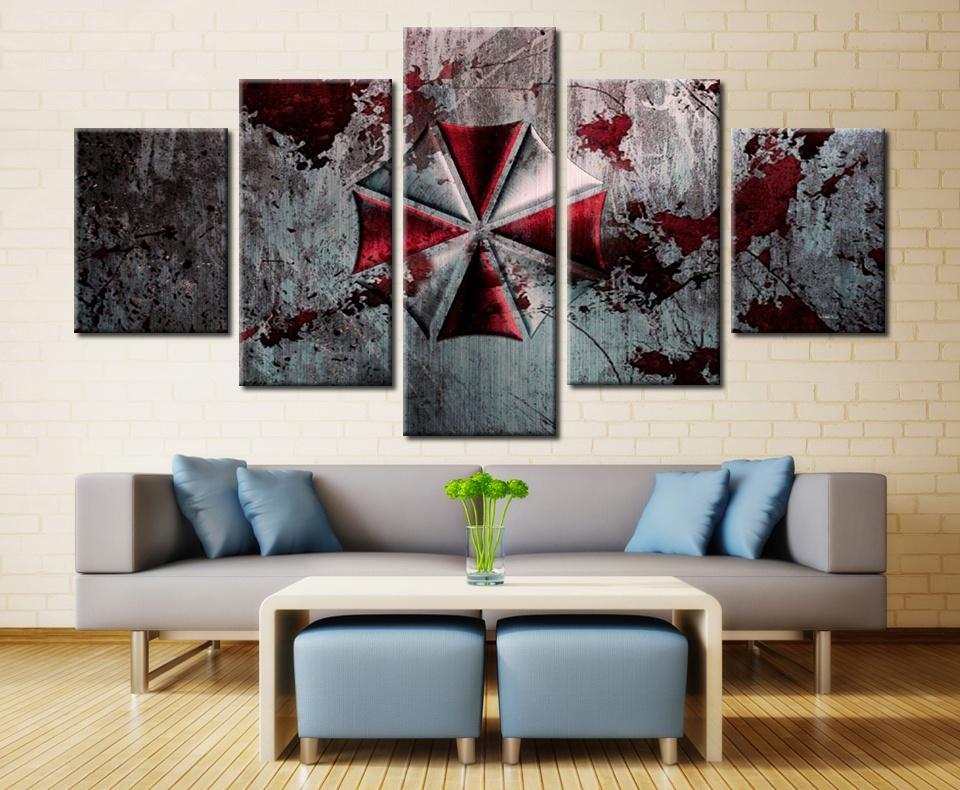 Großhandel Resident Evil, 5 Stück Leinwand Wandkunst Ölgemälde Home ...
