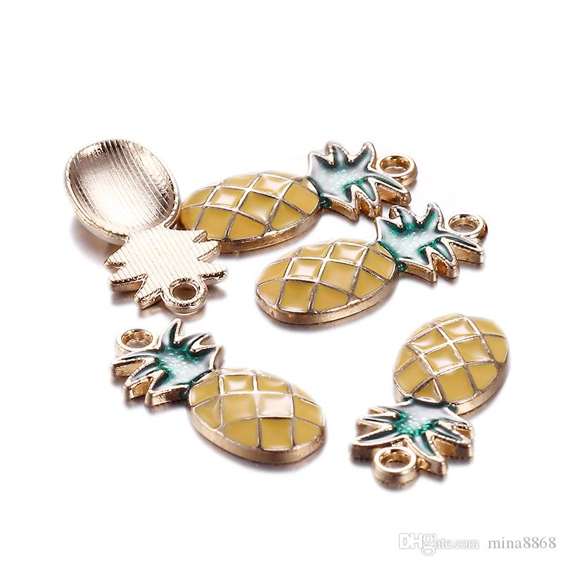 24X11mm Wholesale Fashion Cute Gold Silver Color Enamel Pineapple Charms Fit Necklace s Pineapple Pendant Handmade Jewelry Making