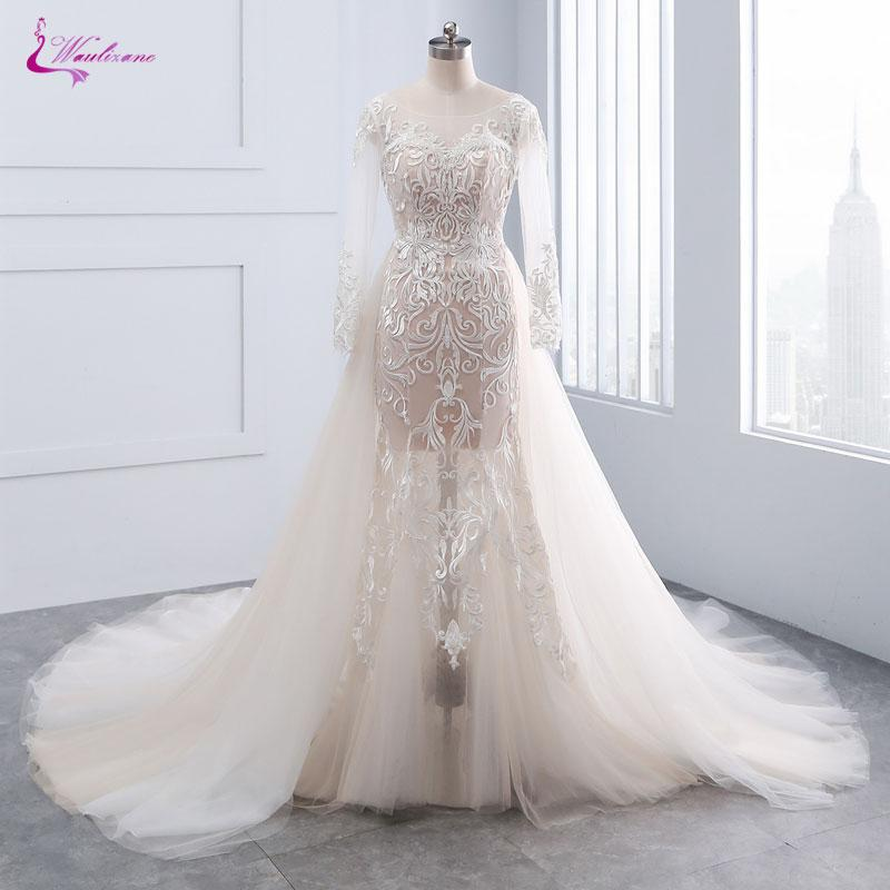4681caa647a Wholesale Chic Tulle Bridal Gown Exquisite Embroidery 2017 O Neck 2 In 1  Detachable Train Wedding Dress Customize Made Plus Size Wedding Gown Mermaid  ...