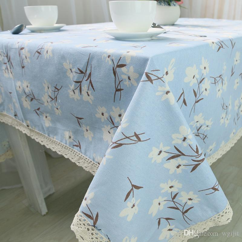 Handmade Blue Flower Cotton Linen Tablecloth New Home Kitchen Decor Dinner Table Top Cover Fresh Life Table Runner