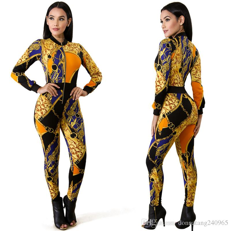 b37a66d3dfc 2019 2018 Jumpsuit Women Chain Printed Rompers Zip Front Sexy Bodycon  Bodysuit Party Overalls Club Wear Jumpsuit S M L XL Free DHL From  Donnatang240965