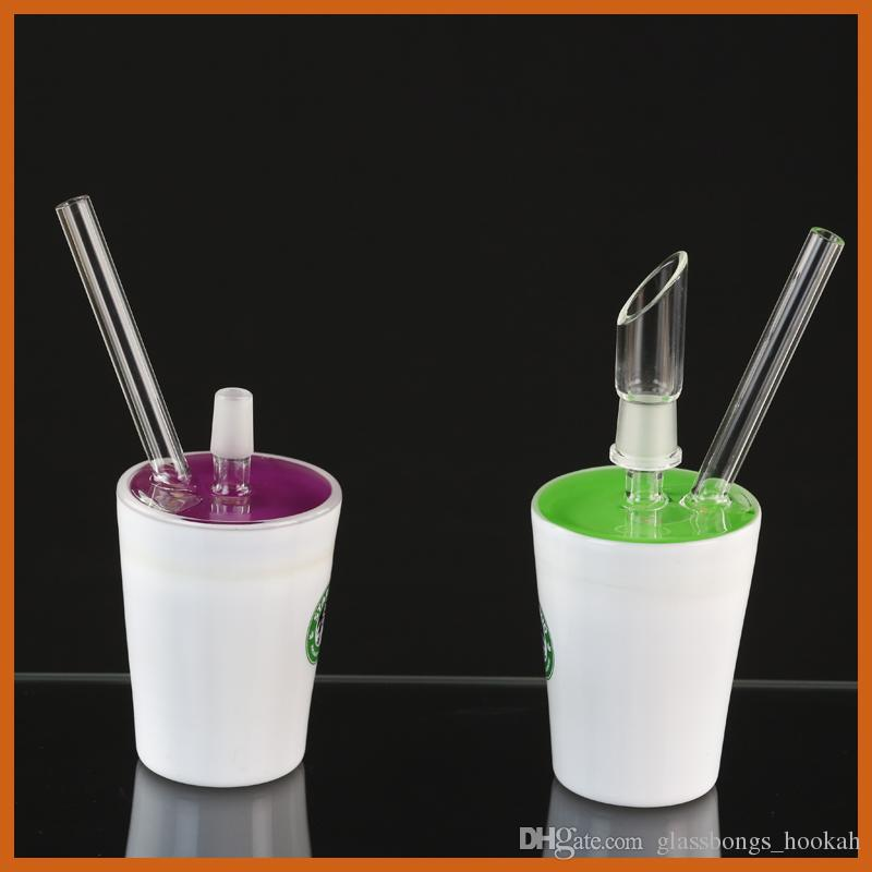 starbucks oil rigs Green and purple glycerin glass bong 14.5mm male joint water pipes high quality bongs
