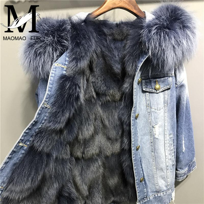 89e56aece8 2019 Winter Women Denim Jacket With Real Fox Fur Lining Big Raccoon Fur  Hooded Collar Parka Overcoat Real Genuine Fox Coat From Easme, $398.76 |  DHgate.Com