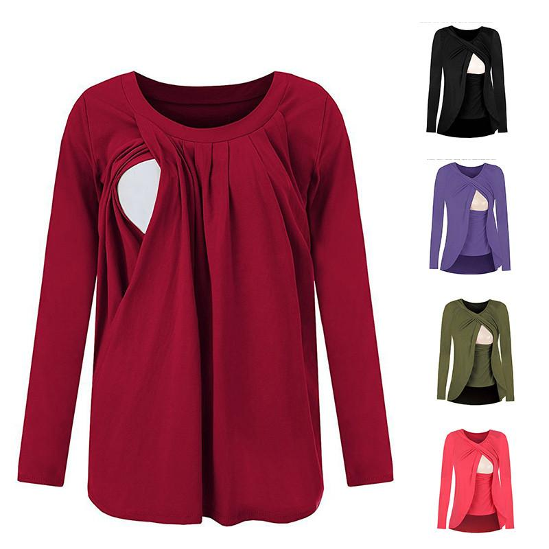 24c53ba65 2019 2018 Cotton Nursing Clothes T Shirt Long Sleeve Breastfeeding Nursing  Clothes Breathable Maternity Nursing Tops Pregnant Clothes From Sport_xgj,  ...