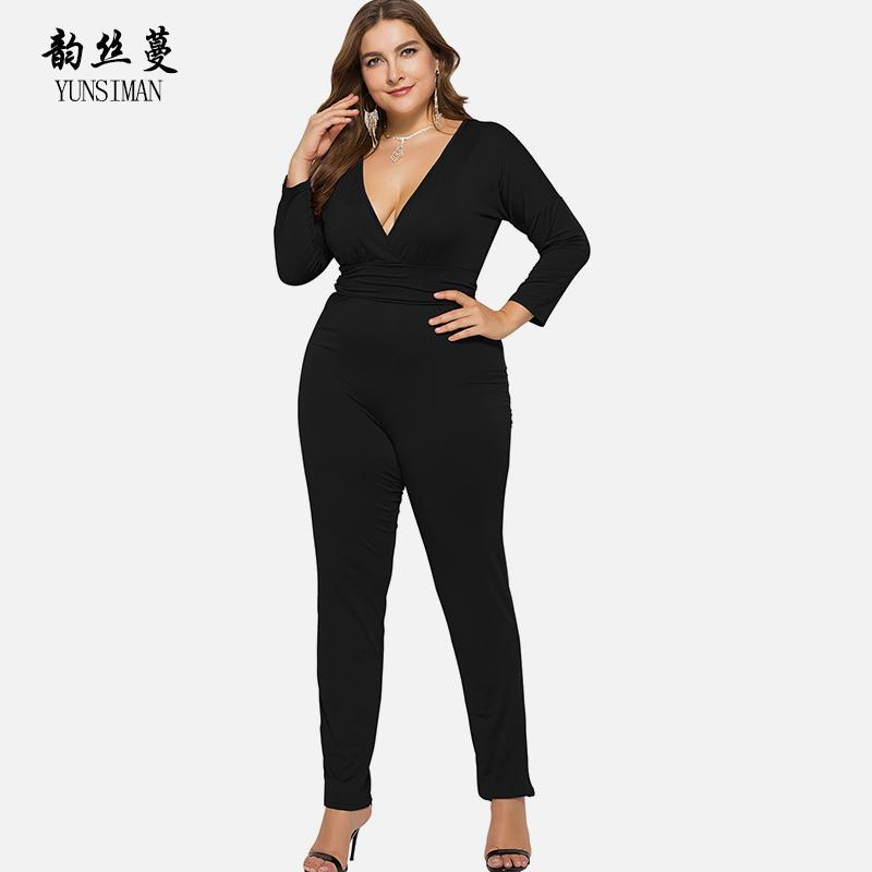 2793a11493f1 2019 Women Clothes Autumn Jumpsuits Plus Size Pants XXL 3XL 4XL Casual Long  Sleeve Sexy Skinny Black Jumpsuits For Women Lady 6C01A From Layette66