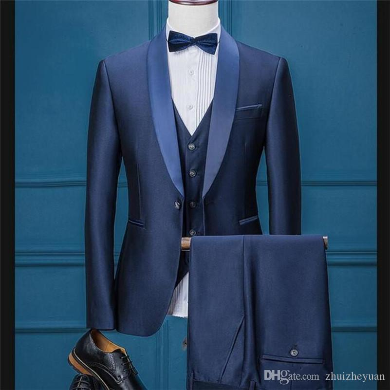 New Fashion Navy Blue Mens Wedding Suits Shawl Lapel Three Piece Groomsmen Tuxedos for Men Prom Dinner Suit Jacket+Pants+Vest