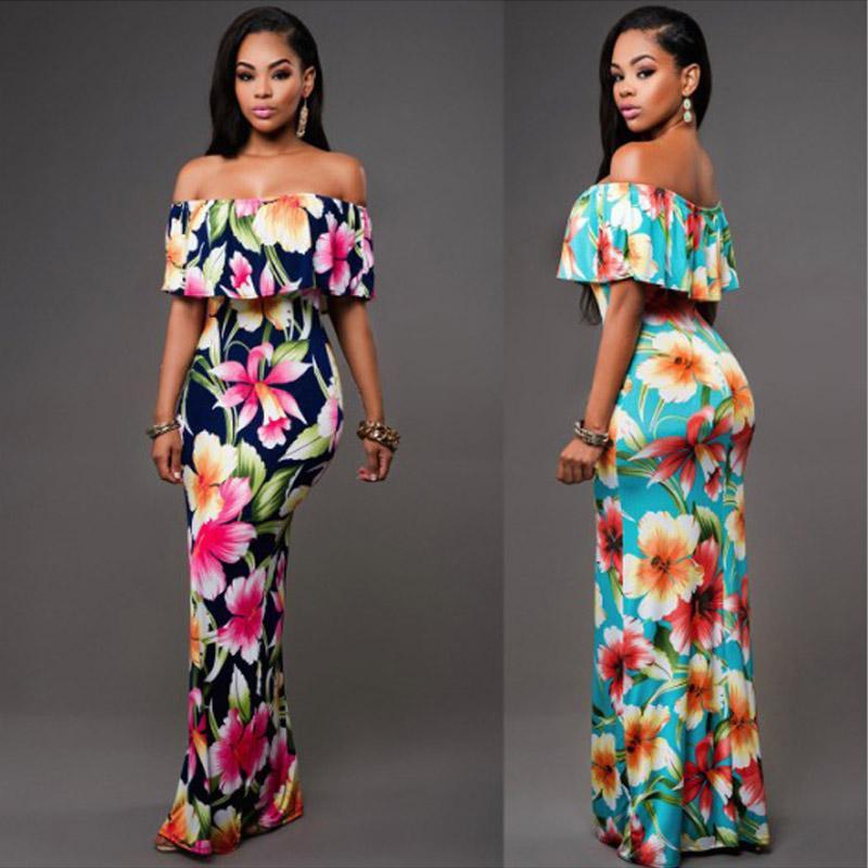 2020 New Stylish Elegant Women Off Shoulder Floral Print Short Sleeve Ruffles Boho Dress Ladies Evening Party Long Dresses