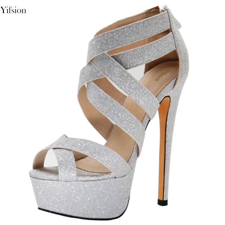 5d3437113397 Yifsion New Stylish Women Sandals Bling Thin High Heel Sandals Sexy Open Toe  Silver Party Women Shoes Women US Plus Size 4 10.5 Strappy Heels Geox Shoes  ...