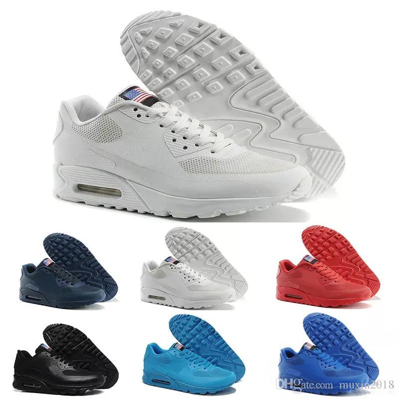 1199303f21065 Compre Nike Air Max 90 HYP PRM QS 2018 Nuevo Alr 90 HYP PRM QS Hombre Mujer  Zapatillas De Running Alr 90s Bandera Americana Negro Azul Marino Oro Plata  ...