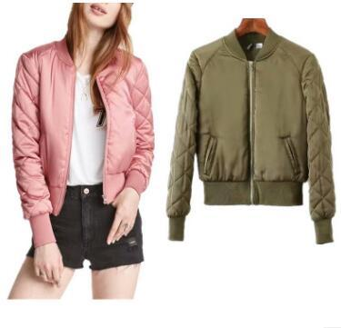 465d798c7 Women argyle bomber jacket solid color padded long sleeve flight jackets  casual coats ladies punk outwear top capa